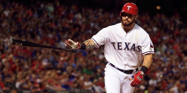 May 29, 2015; Arlington, TX, USA; Texas Rangers left fielder Josh Hamilton (32) walks during the game against the Boston Red Sox at Globe Life Park in Arlington. Mandatory Credit: Kevin Jairaj-USA TODAY Sports
