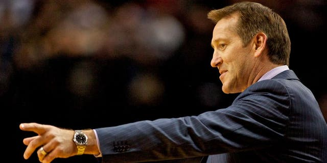Nov 13, 2013; Portland, OR, USA; Phoenix Suns head coach Jeff Hornacek points during the first quarter against the Portland Trail Blazers at the Moda Center. Mandatory Credit: Craig Mitchelldyer-USA TODAY Sports