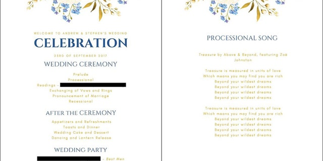 A design of the couple's intended wedding programs.