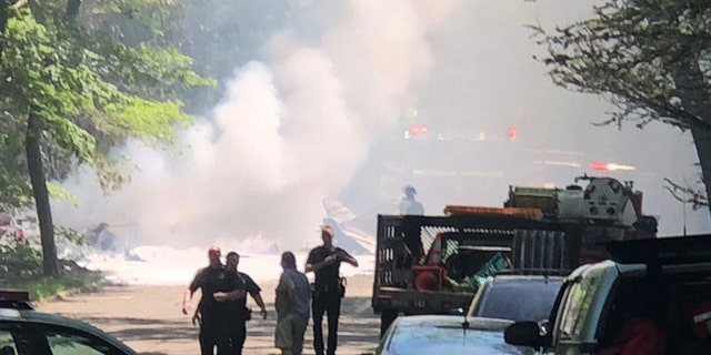 Suffolk County police say there were no other occupants on the plane and no one on the ground was injured. Photos of the wreckage show thick black smoke and raging orange flames. (Jon Werz)