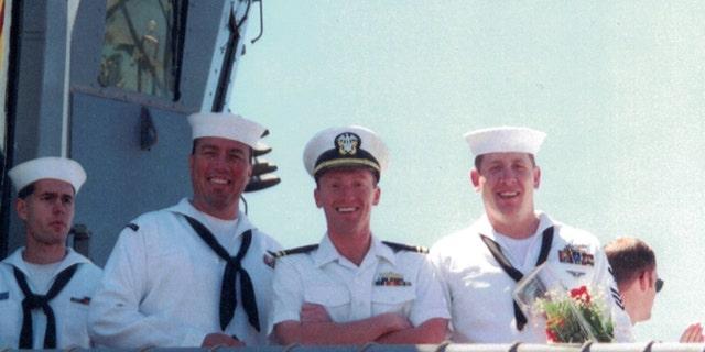 Lt Junior Grade Carter Page (center, right) on USS Carr (FFG-52)