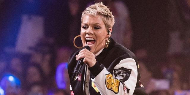 Pink performs at The Armory on Friday, Feb. 2, 2018, in Minneapolis. (Photo by Michael Zorn/Invision/AP)