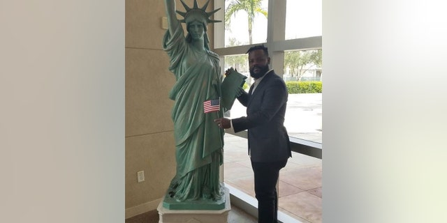 Twins pitcher Fernando Rodney, 41, posted a photo of himself standing next to a human-sized version of Lady Liberty.