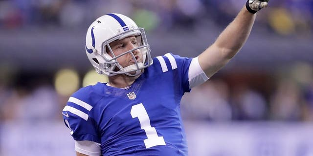 INDIANAPOLIS, IN - NOVEMBER 24: Pat McAfee #1 of the Indianapolis Colts reacts after throwing a first down pass on a trick play during the second quarter of the game against the Pittsburgh Steelers at Lucas Oil Stadium on November 24, 2016 in Indianapolis, Indiana. (Photo by Andy Lyons/Getty Images)