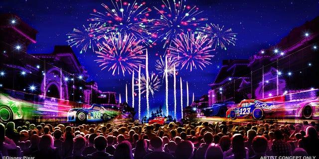 Celebratory fireworks at the park.