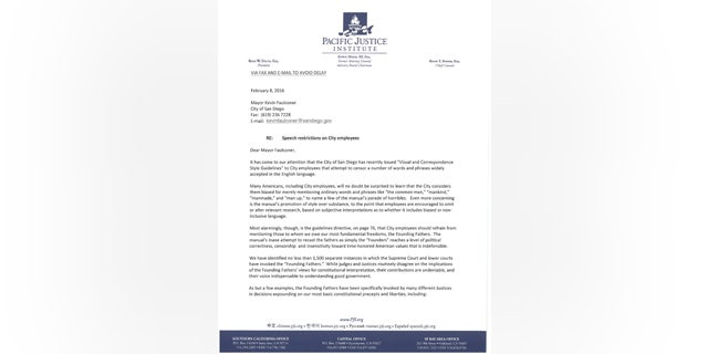 Legal watchdog group the Pacific Justice Institute sent this letter to the Mayor's office in San Diego, urging them to reverse the mandate.