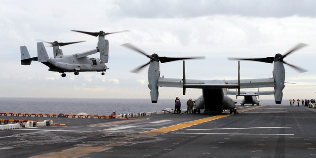 A MV-22 Osprey that had launched from the USS Bonhomme, pictured here, was conducting regularly scheduled operations when it crashed into the water off Australia's east coast, Saturday, Aug. 5.