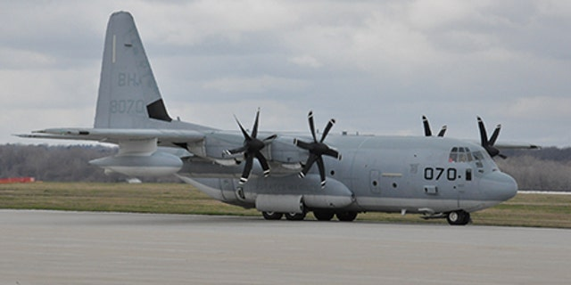 A Marine Corps KC-130 on the Wright-Patterson Air Force Base ramp preparing for takeoff, in Cherry Point, North Carolina, March 19, 2016. (U.S. Air Force Photo/Wesley Farnsworth)