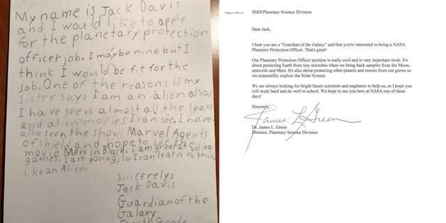 Letter from 9-year-old Jack and the response from NASA for the alien-fighting position.