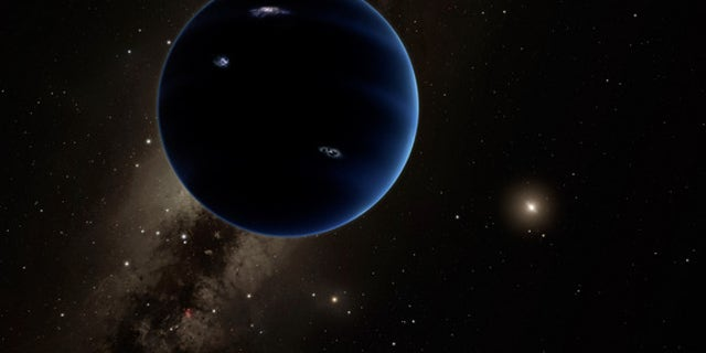 """Artist's illustration of """"Planet Nine,"""" a hypothesized world about 10 times more massive than Earth that may orbit far beyond Pluto."""