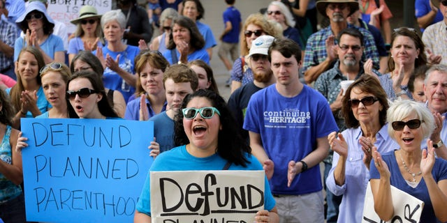 FILE- July 28, 2015: Erica Canaut, center, cheers as she and other anti-abortion activists rally on the steps of the Texas Capitol in Austin, Texas to condemn the use in medical research of tissue samples obtained from aborted fetuses.  (AP Photo/Eric Gay)