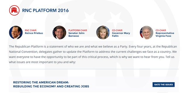 Shown here is an image of the new Platform.gop website.