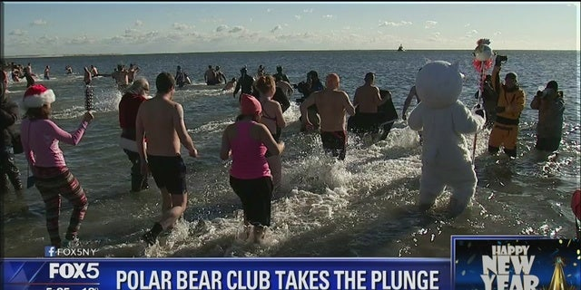 Hundreds took part in the Polar Bear Plunge, which has been a tradition since 1903. The money raised this year will go to the Alliance for Coney Island and the New York Aquarium.