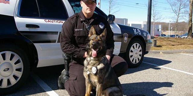 This photo shows police dog Kaiser, a member of Plymouth's K-9 team, pictured with a Plymouth police officer.