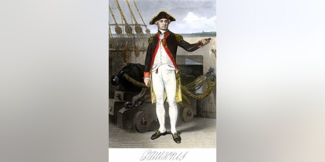 John Paul Jones during the American Revolution. Hand-colored engraving of a portrait.