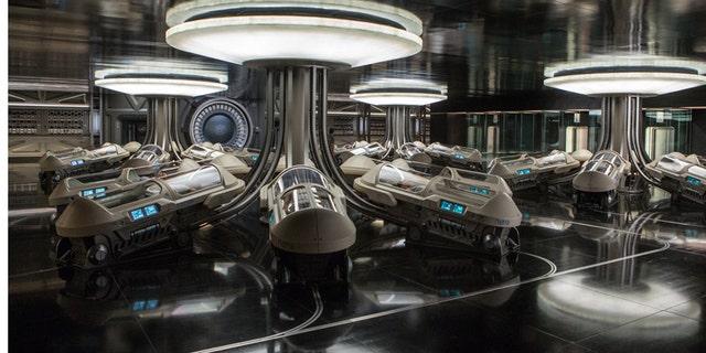 "The hibernation bay in the film ""Passengers."""