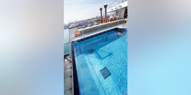 The zero-edge pool is one of the ship's many sleek architectural features.