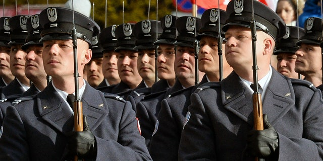 Polish soldiers took part in official ceremonies.