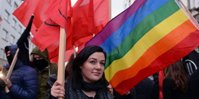 One of the demonstrators taking part in Saturday's counter-march