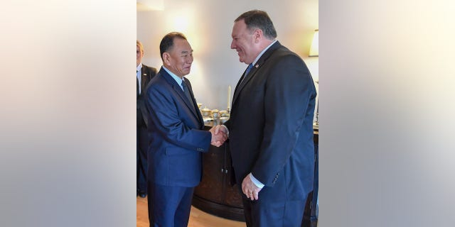 Kim Yong Chol, of North Korea, meets with Secretary of State Mike Pompeo on Wednesday in New York City.