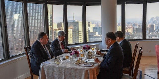 Secretary of State Mike Pompeo has dinner in New York City with North Korean former military intelligence officer Kim Yong Chol.