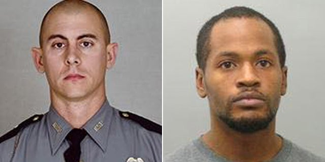 Kentucky State Police Trooper Joseph Cameron Ponder and suspect Joseph Thomas Johnson-Shanks.