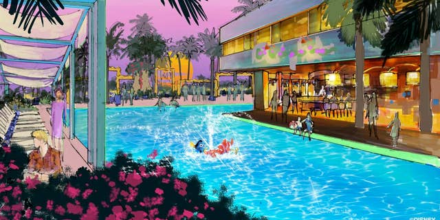 Look closely and you'll see Dory and Nemo in the pool. Concept art of the swimming pool area of the proposed new hotel at the Disneyland Resort.