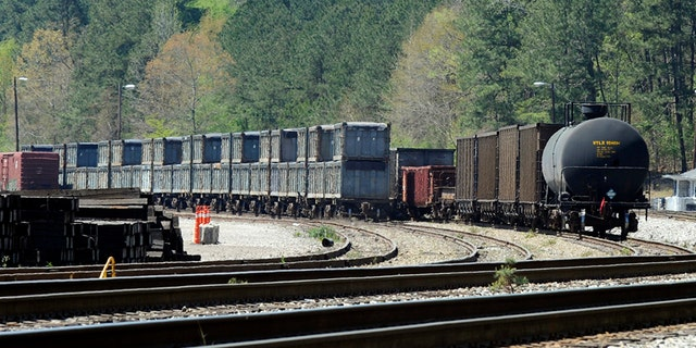 April 12, 2018: A train in Parrish, Ala., loaded with tons of sewage sludge, that has been sitting idle in the town for months.
