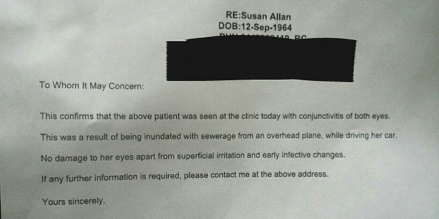 Allan provided a note from a doctor, which claims she was treated for conjunctivitis in both eyes.