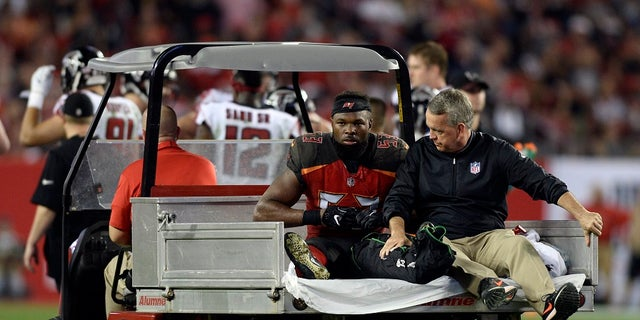 Tampa Bay Buccaneers linebacker Adarius Glanton was carted off the field Monday after getting hurt during the second half of an NFL football game.
