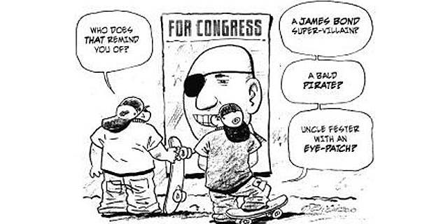 Imperial Valley Press says cartoon portraying injured veteran running for Congress was meant to mock voter ignorance, not the injury he sustained in the Iraq War.