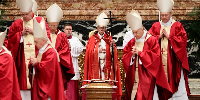 Dec. 21, 2017: Pope Francis presides over the funeral ceremony for late Cardinal Bernard Law, in St. Peter's Basilica at the Vatican.