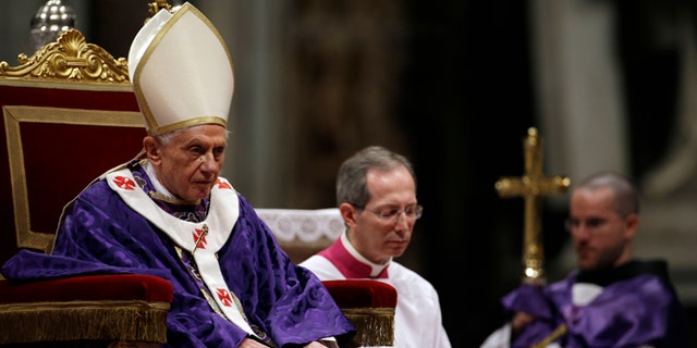 "Feb. 13, 2013: Pope Benedict XVI celebrates the Ash Wednesday mass in St. Peter's Basilica at the Vatican. Ash Wednesday marks the beginning of Lent, a solemn period of 40 days of prayer and self-denial leading up to Easter. Pope Benedict XVI told thousands of faithful Wednesday that he was resigning for ""the good of the church"", an extraordinary scene of a pope explaining himself to his flock that unfolded in his first appearance since dropping the bombshell announcement."