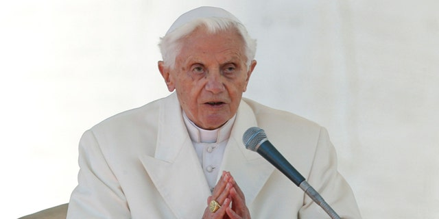 Pope Benedict XVI finishes his last general audience in St Peter's Square at the Vatican.