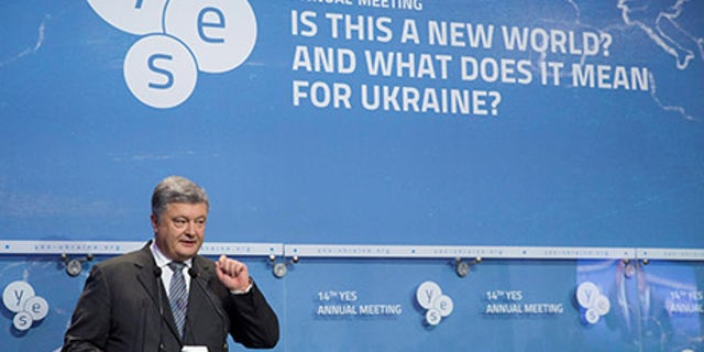 Ukrainian President Petro Poroshenko delivers a speech at the opening of the annual Yalta European Strategy (YES) conference in Kiev, Ukraine September 15, 2017. Mykhailo Markiv/Ukrainian Presidential Press Service/Handout via REUTERS ATTENTION EDITORS - THIS IMAGE WAS PROVIDED BY A THIRD PARTY. - RC1514413E80
