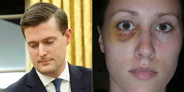 Porter, (l.), resigned after a picture emerged of ex-wife Colbie Holderness with a black eye.