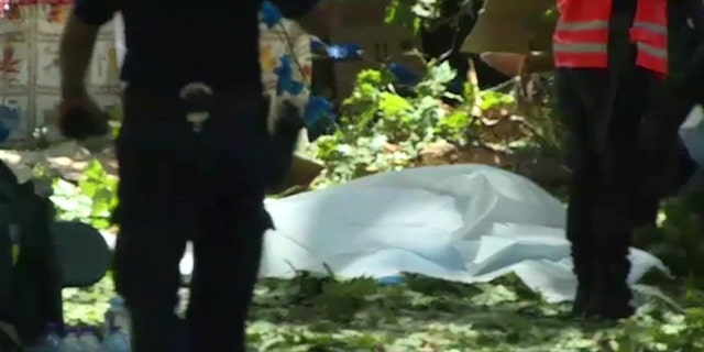 A body lies on the covered on the ground after a falling tree killed people near Funchal on the island of Madeira Portugal in this image taken from video Tuesday Aug.15, 2017.
