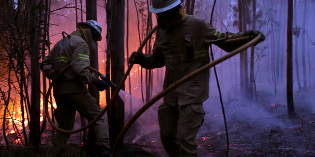 Portuguese National Republican Guard firefighters work to stop a forest fire from reaching the village of Avelar, central Portugal, at sunrise Sunday, June 18 2017.