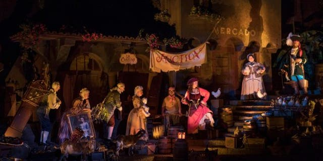 Disney World's redesigned 'Pirates of the Caribbean' attraction re-casts the animatronic 'wench' as a pirate.
