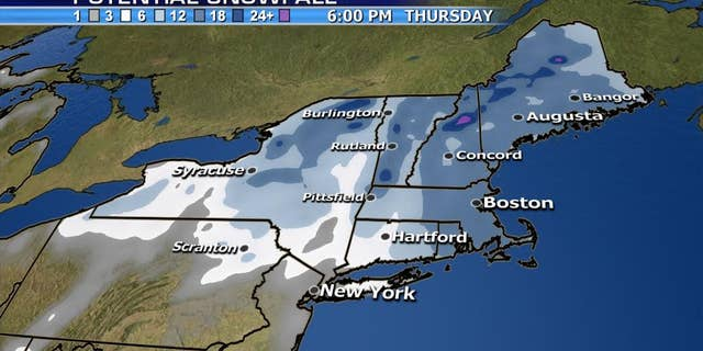 The snowfall forecast from a nor'easter bringing blizzard conditions to parts of the Northeast.