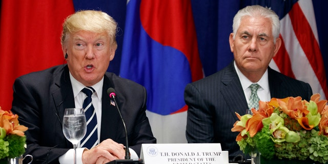 President Trump and Secretary of State Rex Tillerson during the United Nations General Assembly on September 21, 2017 in New York.