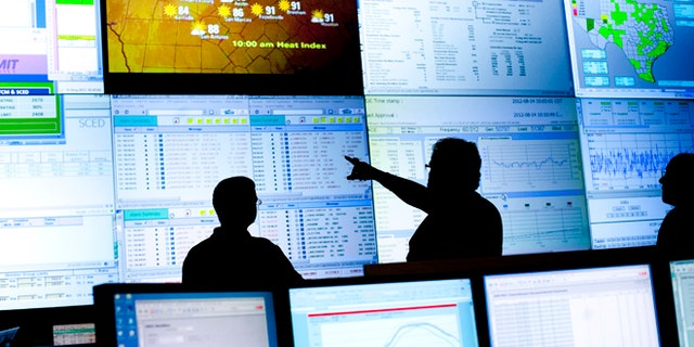 FILE: August 14, 2012: A view of the U.S. power grid from inside of  the Electric Reliability Council of Texas's command center in Taylor, Texas.