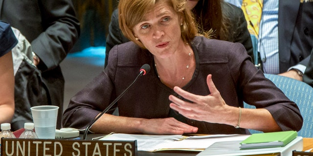 Samantha Power, former U.S. ambassador to the United Nations, addresses the U.N. Security Council, Aug. 10, 2013.