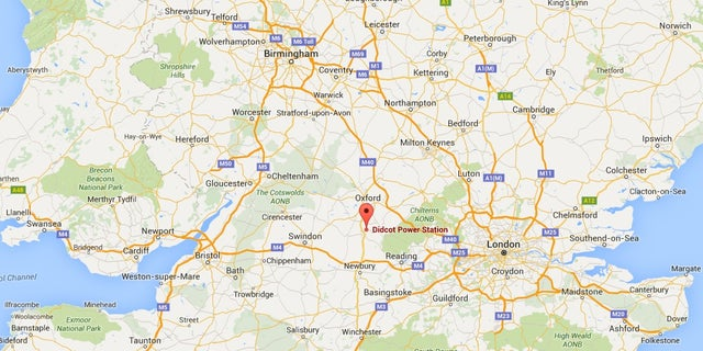 Map showing location of the Didcot power plant in Oxforshire, UK.