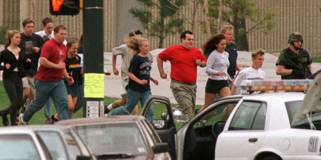 The scene at Columbine High School April 20, 1999.