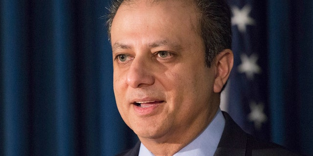 """FILE - In this Dec. 21, 2016 file photo, United States District Attorney Preet Bharara announces chargesin New York, against Navnoor Kang, a former portfolio manager at the New York State Common Retirement Fund, and two broker-dealers, Deborah Kelley and Gregg Schonhorn, for participating in a """"pay-for-play"""" scheme.  A person with knowledge of U.S.   Bharara's actions said Saturday, March 11, 2016,  he is not complying with Attorney General Jeff Sessions' request to resign along with other prosecutors appointed by former President Barack Obama.  (AP Photo/Mark Lennihan)"""