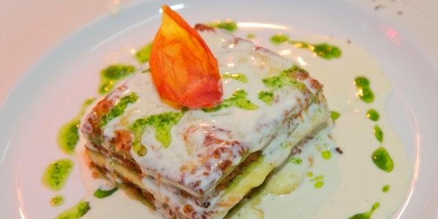 traditional italian food lasagna. meal on plate