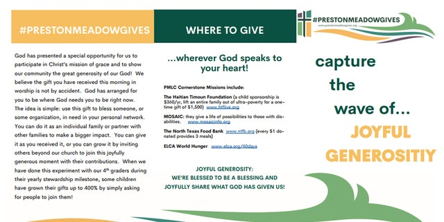 A pamphlet about a giving project at a church in Plano, Texas.