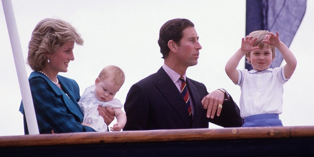 Prince William rocked a white button up with blue trim and blue shorts aboard the Royal Yacht Britannia in Venice, 1985.