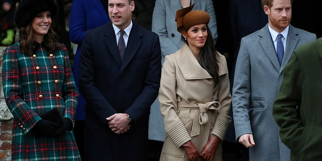 Kate Middleton and Prince William are pictured with Prince Harry and his wife, Meghan Markle. The couples were famously nicknamed 'The Fab Four' before their alleged royal rift.